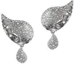 Alexis Bittar Crystal Encrusted Paisley Button Clip Earrings