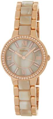 Fossil Women's Virginia Crystal Bracelet Watch & Earrings Set, 30mm