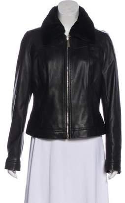 HUGO BOSS Boss by Faux Fur-Trimmed Leather Jacket