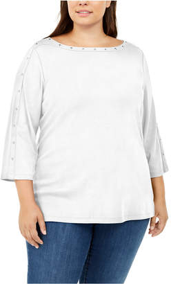 Karen Scott Plus Size Studded Boat-Neck Top
