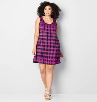 Avenue Spotted Tie Dye A-Line Dress