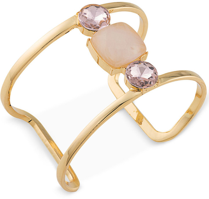 Carolee Carolee Gold-Tone Stone and Crystal Open Cuff Bracelet