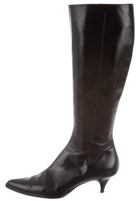 Giorgio Armani Pointed-Toe Knee-High Boots