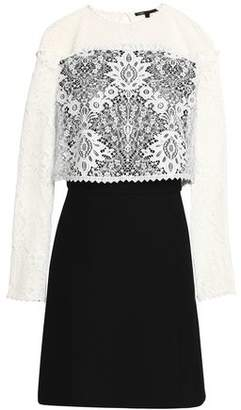 Maje Layered Lace And Crepe Mini Dress