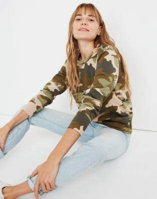 Madewell Crewneck Sweatshirt in Cottontail Camo