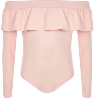 River Island Girls pink frill bardot bodysuit