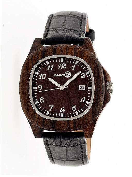 Earth Wood Sherwood Dark Brown Leather-Band Watch with Date ETHEW2702