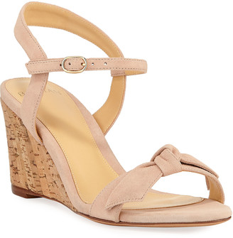 Alexandre Birman Noelle Cork-Wedge Suede Sandals
