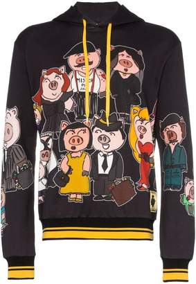 Dolce & Gabbana pig family print cotton hoodie