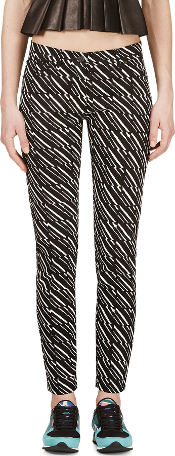 Kenzo Black & White Printed Cropped Jeans