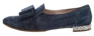 Miu Miu Denim Bow Loafers