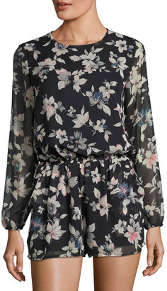 Lucca Couture Theresa Floral Long-Sleeve Romper, Black/Multi $65 thestylecure.com