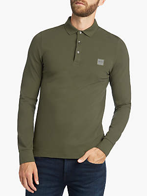HUGO BOSS BOSS Long Sleeve Polo Shirt, Dark Green