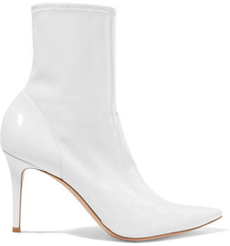 Gianvito Rossi 85 Patent-leather Ankle Boots - White
