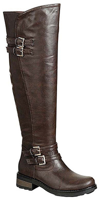 Brown Double-Buckle Enjoy Boot $55.50 thestylecure.com