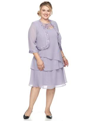Le Bos Plus Size Embroidered Tiered Evening Dress & Jacket Set