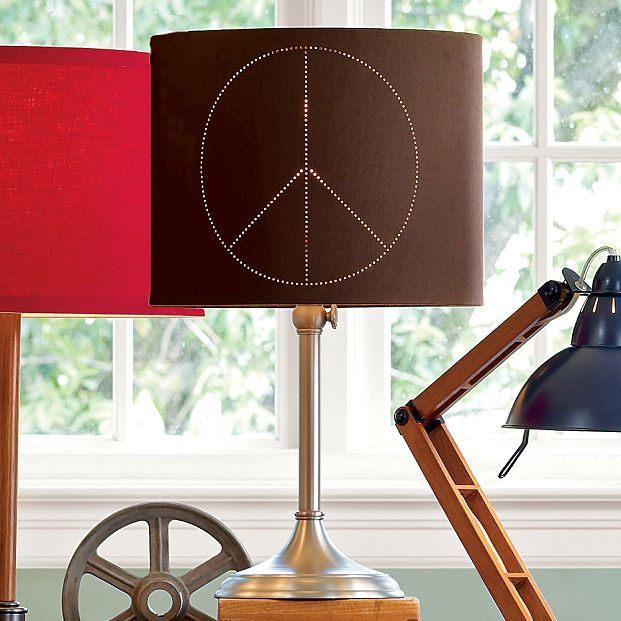 Simple Stick Lamp Base + Peace Sign Shade
