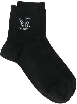 Burberry knitted intarsia ribbed ankle socks
