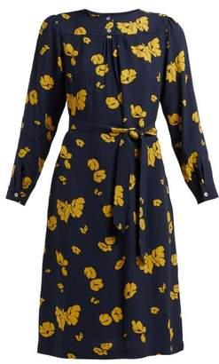 A.P.C. June Floral Print Crepe Dress - Womens - Navy Multi