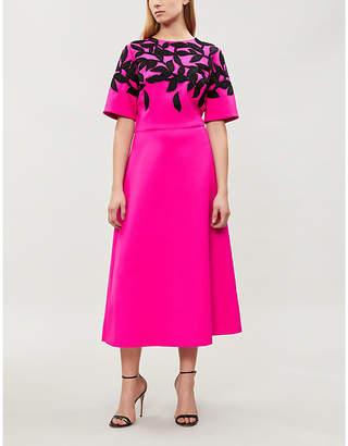 Oscar de la Renta Leaf-motif embellished stretch-wool gown