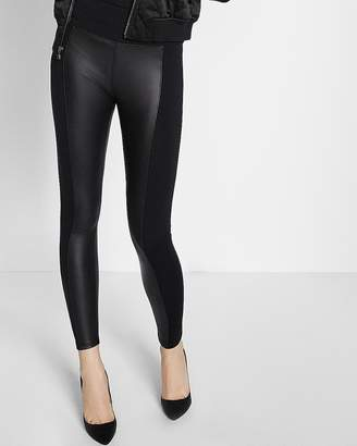 Express Petite High Waisted Faux Leather Panel Leggings