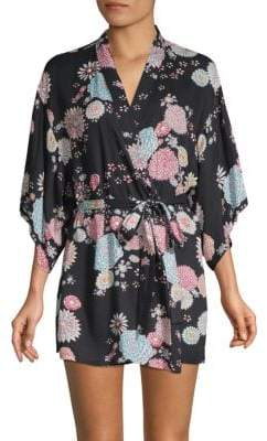 Josie Natori Tropical Print Wrap Robe