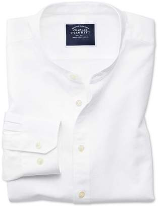 Charles Tyrwhitt Slim Fit White Collarless Cotton Casual Shirt Single Cuff Size XS