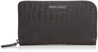 Jimmy Choo CARNABY Black Crocodile Printed Nubuck Travel Wallet