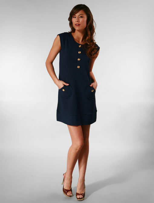 Tibi Velodromo Cap Sleeve Dress in Navy with Gold Buttons