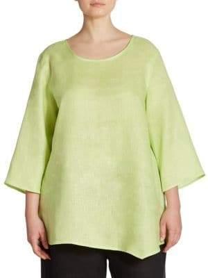 Caroline Rose Asymmetrical Linen Tunic