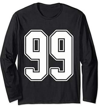 White Outline Number 99 Sports Fan Jersey Long Sleeve