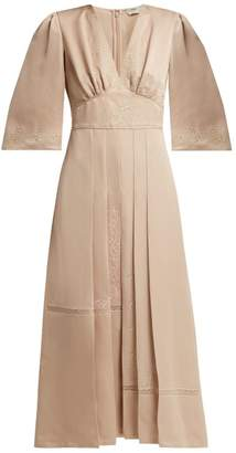 Fendi Embroidered Silk Dress - Womens - Beige