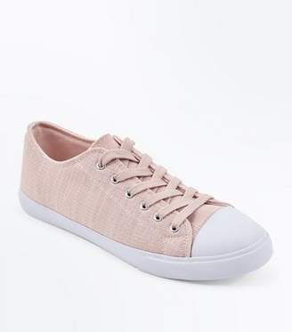 New Look Pink Knitted Lace Up Trainers