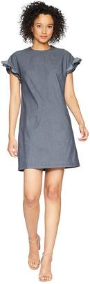 London Times Denim Drop Shoulder Ruffle Dress Women's Dress