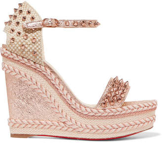 Christian Louboutin Madmonica 120 Spiked Metallic Cracked-leather Espadrille Wedge Sandals - Pink