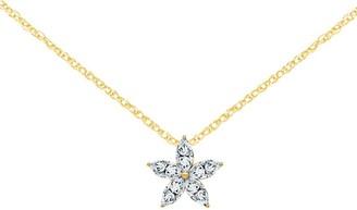 Moissanite 1.05 cttw Marquise-Shaped Flower Pendant, 14K Gold