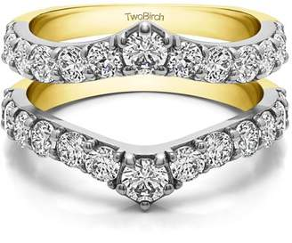 TwoBirch Brilliant Moissanite Mounted in Sterling Silver Delicate Graduated Contour Ring Guard (0.67ctw)
