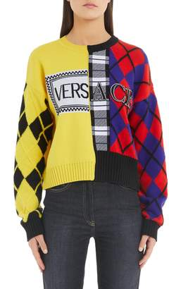 Versace Mixed Print Wool & Cashmere Blend Sweater
