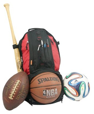 K-Cliffs Baseball Backpack Softball Daypack Basketball Volleyball Backpack Football Soccer Bag w/ Ball Storage Helmet Compartment & Bat Holder & Coin Phone Pouch - Red