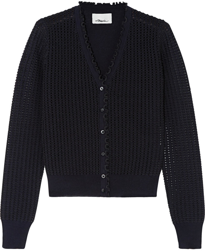 3.1 Phillip Lim 3.1 Phillip Lim Ruffle-trimmed open-knit wool-blend cardigan