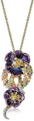 Roberto Cavalli Purple Flower Goldtone Brass Necklace w/Crystals