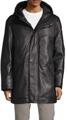 DKNY Hooded Leather Jacket