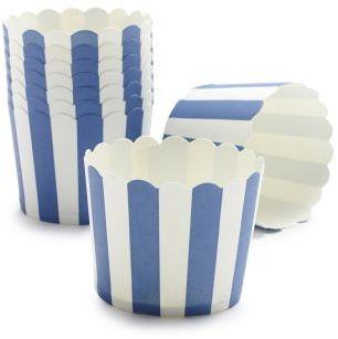 Sur La Table Paper Eskimo Navy and White Stripe Baking Cups, Set of 25