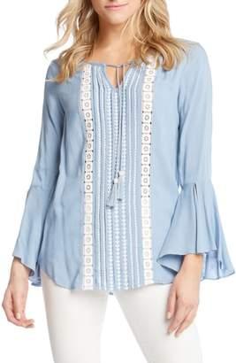 Karen Kane Embroidered Split Sleeve Top