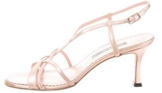 Manolo Blahnik Leather Ankle-Strap Sandals