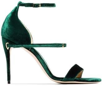 Jennifer Chamandi emerald green Rolando 105 velvet sandals