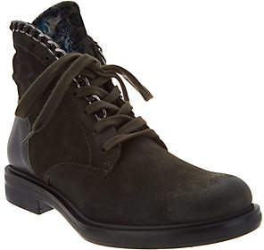 Miz Mooz Suede and Velvet Lace-up Ankle Boots- Chelsea