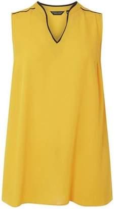Dorothy Perkins Womens **Dp Curve Yellow Sleeveless Notch Neck Top
