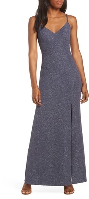 Eliza J Glitter Knit Crepe Gown