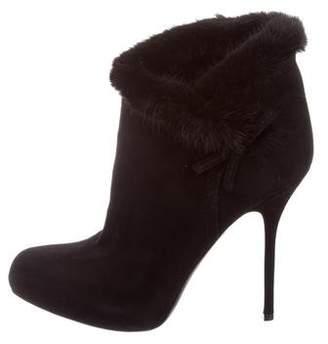 Christian Dior Mink Fur-Trimmed Ankle Boots